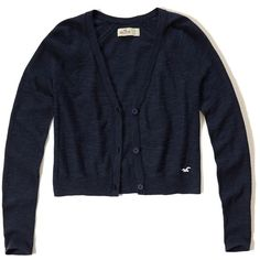 Hollister Easy Cropped Cardigan (270 EGP) ❤ liked on Polyvore featuring tops, cardigans, navy, navy cropped cardigan, navy blue top, cardigan top, navy top and navy blue cardigans