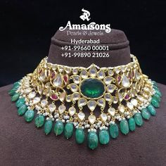 Stunning Polki Choker for your wedding Amarsons jewellery. Choker with emerald hangigns For More Info Whatsapp on : Stylish Jewelry, Fashion Jewelry, Wedding Jewelry, Gold Jewelry, Bridal Jewellery, Necklace Designs, Beautiful Necklaces, Indian Jewelry, Chokers
