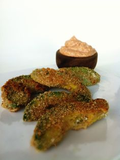 Healthy Avocado fries with chipotle dipping sauce