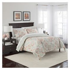 Floral Carlisle Reversible Comforter Set (Queen) 3pc - Marble Hill,