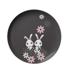 Cute Animal Kids Plates: Kawaii Bunny Everyday Dishes for Girl Twins, Sisters, or Best Friends: #bunnies