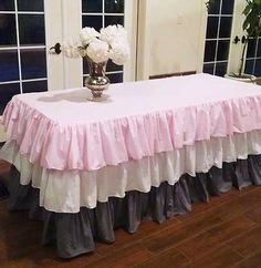 Pink White Grey Ruffled Tablecloth-Easter by MyHauteStuff on Etsy