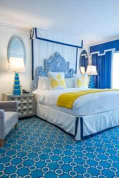 Who's ready to dive into the gorgeous bed in this Jonathan Adler designed room at the Eau Palm Beach?