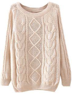Beige Long Sleeve Diamond Patterned Knit Sweater US$26.62