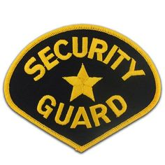 Security Guard Black And Gold Embroidered Patch For Uniform Jacket Pinmart