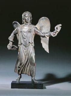 Etruscan civilization, 5th century b. C. Bronze statue depicting Vanth (female demon in the Etruscan underworld) as Fury, circa 425–400 b. C.