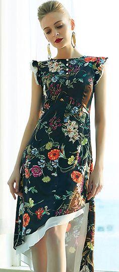 Chic Floral A-Line High Waist Irregular Hem Skater Dress