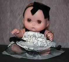 "Upcycled OOAK ""Spirit Friend Doll."" Lil Cutsie 8"" Reconditioned Baby Doll with Custom Goth Garb by Mandy Wildman. Collectible Art Doll."