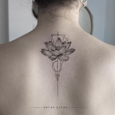Love this clean mix of geometrical lines and the beautiful soft curves of the lotus flower. Sharp yet elegant, this tattoo balances powerful femininity, nature and a sense of peace.