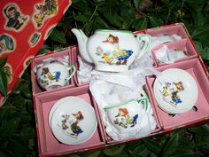 Antique Duckie Tea Set In Box Occupied Era Hand Painted Mother Goose by AntiquesandVaria on Etsy https://www.etsy.com/listing/157977625/antique-duckie-tea-set-in-box-occupied