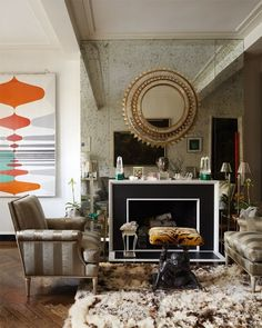 Defining Design: Eclectic Interiors. Check out that rug and the bench in the center. Awesome!