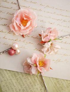 Rose hair clips, blush pink hair pins, flower bobby pins, wedding accessory - Cecile. 28.00, via Etsy.