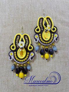 Yellow earrings chandeliers big bold earrings boho yellow