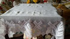 Edwardian Linen & Filet Lace Tablecloth White Work Embroidery Crosses & Hearts
