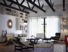 combinación de muebles de cuero de distintos colores
