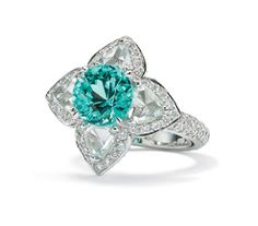 Laura Munder Paraiba Tourmaline and Diamond Ring