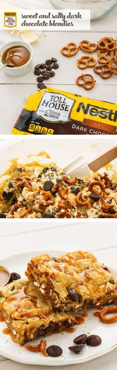 Sweet and salty, chewy and crunchy—get the best of everything with Sweet & Salty Dark Chocolate Blondies. Show up to your next book club session with a batch of yummy bars, as a way to say thanks for all the inspiring chats. To make this easy dessert recipe, start by mixing the ingredients, including Nestlé® Toll House® Dark Chocolate Morsels, according to the recipe. Once ready, cut into bars and drizzle with gooey caramel. One bite of these blondies and you're sure to make the Top 10 list.