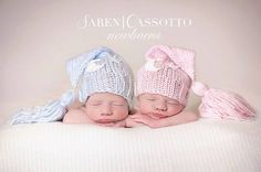 TWINS Newborn Boy Girl Knitted Elf Night Cap Hats by MyLittleKnits
