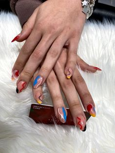 almond shape with abstract wave trend Modern Nails, Abstract Waves, Amazing Nails, Nail Spa, Fun Nails, Almond, Nail Designs, Shapes, Collection