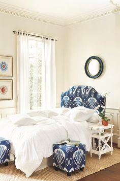 Camden Upholstered Headboard in Toscana Ikat Blue & French Knot Bedding - now available at ballarddesigns.com
