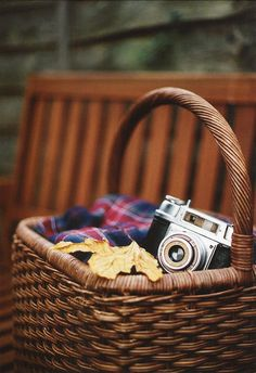 Plaid, picnic basket, vintage camera ~ ah fall!