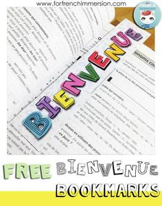 FREE Welcome! bookmarks in French - BIENVENUE! Great gift for back-to-school!