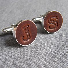 leather initial cufflinks by gracie collins   notonthehighstreet.com