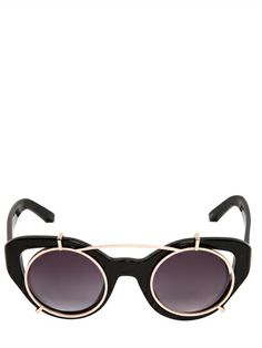 ERDEM BY LINDA FARROW - SUNGLASSES WITH REMOVABLE METAL MASK - LUISAVIAROMA - LUXURY SHOPPING WORLDWIDE SHIPPING - FLORENCE