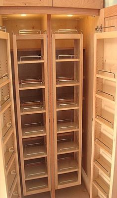 Great Kitchen Pantry Storage; consider doing this for lockable section