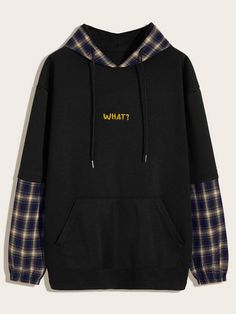Guys Tartan & Letter Graphic Drawstring Hoodie - Source by - Grunge Outfits, Teen Fashion Outfits, Tomboy Outfits, Emo Outfits, Men's Fashion, Trendy Hoodies, Cool Hoodies, Men's Hoodies, Mens Sweatshirts