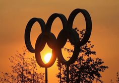 London 2012 Olympic Park --  This stunning sunset creates a fantastic backdrop for the Olympic Rings.