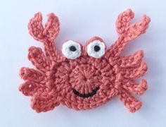 Crochet sea life, Crochet applique, 1 dark peach applique crab cardmaking, scrapbooking, appliques, craft embellishments, sewing accessories
