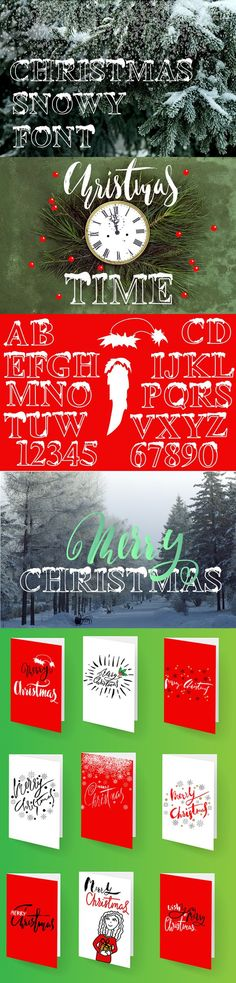 Christmas snowy font. Display Fonts. $10.00
