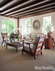 Start by collecting your favorite living room design ideas to recognize all the styles that you will bring into space. the choice of Farmhouse living room design is perfect for your home. Farmhouse living room will look comfortable and casual. Living Room Designs, Living Room Decor, Living Spaces, Living Rooms, Modern Colonial, Rustic White, White Wood, Dark Wood, White Walls
