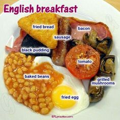 Billedresultat for full english breakfast vs full american breakfast Food Vocabulary, English Vocabulary, Best Breakfast, Breakfast Recipes, Simply Yummy, Bacon Sausage, Thinking Day, English Food, Brunch