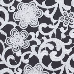 Metallic White Couture Dimensional Floral Guipure Lace Fabric