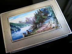 ANTIQUE SWISS AUSTRIAN STERLING SILVER HAND PAINTED ENAMEL CASE SNUFF BOX ALPS