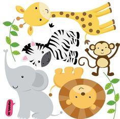 Pin de papel y tijeras em baby shower y bautizo baby animals, safari birthd Safari Party, Jungle Party, Safari Theme, Jungle Theme, Party Animals, Jungle Animals, Animal Party, Baby Shawer, Baby Boy Shower