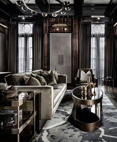 Elegant modern living room with rich wood decor dark interiors, elegant living room, modern Dark Living Rooms, Elegant Living Room, Living Room Modern, Living Room Interior, Living Room Designs, Dark Rooms, Studio Interior, Apartment Interior, Home Luxury