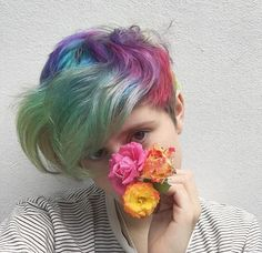 you can't see all the colors in this pic but my hair is pretty much rainbow - - Ftm Haircuts, Pelo Emo, Short Dyed Hair, Short Rainbow Hair, Lesbian Hair, Androgynous Hair, Boys With Curly Hair, Haircut And Color, Coloured Hair
