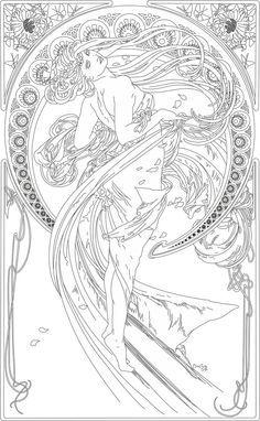 "Kleurplaat naar Alfons Mucha *Colouring Picture A.Mucha-like ~""The Arts: Dance (1898)~"
