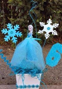 DIY Centerpieces of Elsa from Frozen.