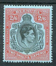 #Bermuda kgvi #1938-53 2s6d black & red on pale blue  #sg117b mnh toning,  View more on the LINK: http://www.zeppy.io/product/gb/2/192026236913/