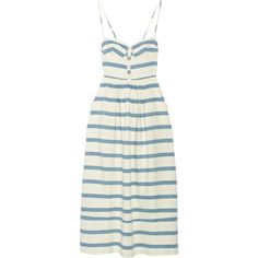 Mara HoffmanStriped Cotton Midi Dress featuring polyvore women's fashion clothing dresses gown mara hoffman vestidos white cotton midi dress stripe dress mara hoffman dress smocked dresses striped dress