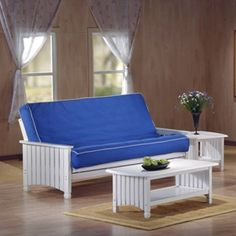 Cottage Full Size White Futon Set By J Furniture Great For Summer Home Or Beach House