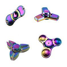 US $5.79 - Rainbow Tri-Spinner Fidget Spinner Hand Spinner Torqbar Brass Ceramic Bearing Rotation Time Long Anti Stress Toys Focus Gyro Toy aliexpress.com