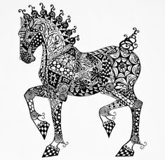 Clydesdale Foal - Zentangle Drawing by Jani Freimann - Clydesdale Foal - Zentangle Fine Art Prints and Posters for Sale