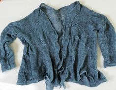 New color added to shop today! Lapis - gorgeous blue open cardi - wabi sabi, sheer sweater knit with merino wool and silk-wrapped stainless steel then lightly felted for deconstructed texture.