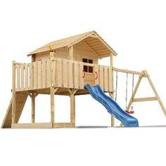 Casa De Madera Niños Tobogán Columpio Jardín Patio Seguridad Y Calidad Nuevo | eBay
