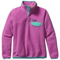 Patagonia Women's Lightweight Synchilla® Snap-T® Pullover ($99) ❤ liked on Polyvore featuring tops, t-shirts, jackets, outerwear, snap top, fleece pullover, fleece tops, purple t shirt and patagonia t shirt